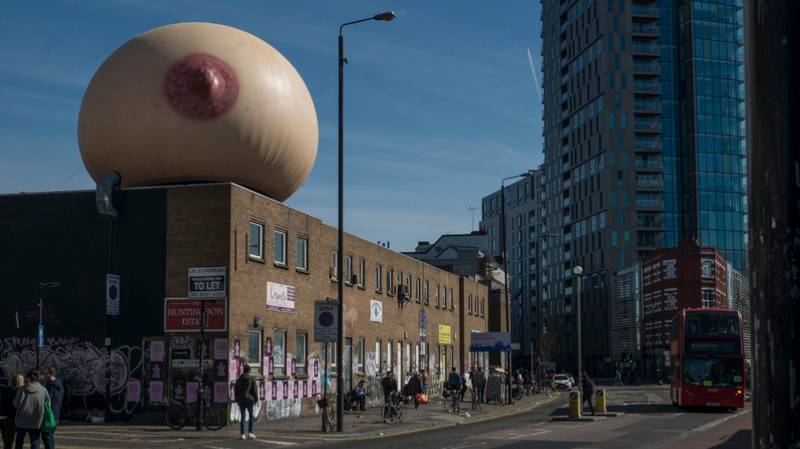 Someone Placed A Giant Boob In London To Make A Point About Breastfeeding