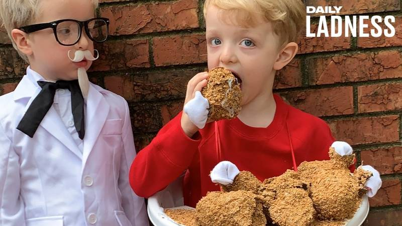 Mum Dressed Her Sons Up As Colonel Sanders And A KFC Bucket For Halloween