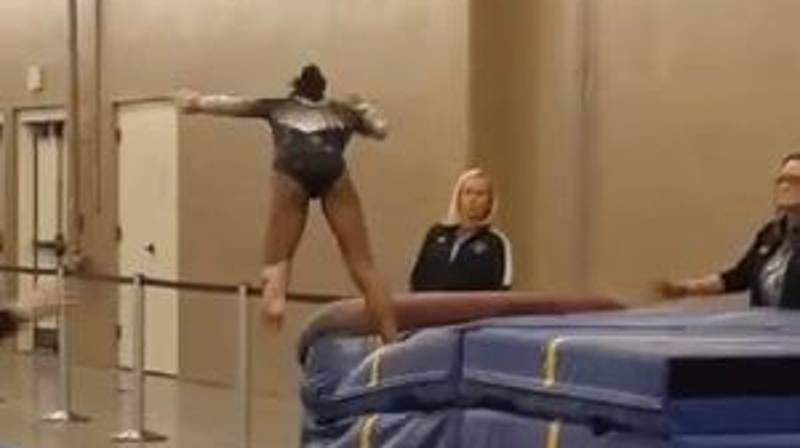 Gymnast Avoids Nasty Injury After Falling During Routine