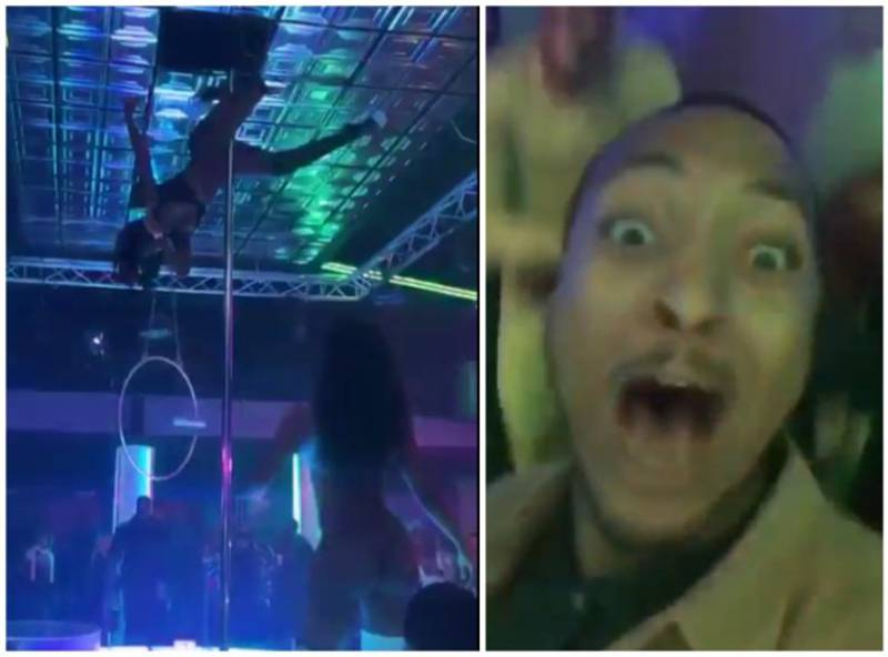 This Man's Reaction To A Stripper Sliding Down A Pole Is Hilarious