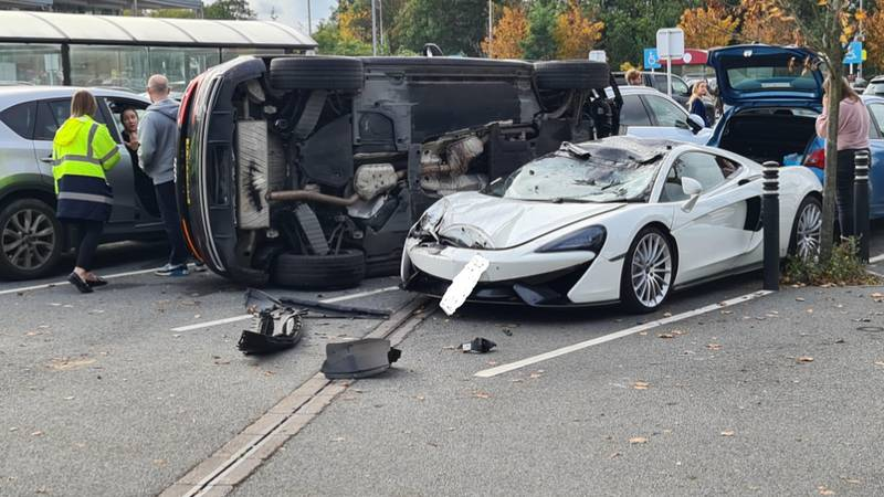 McLaren Left Badly Damaged After Run-In With Audi In Supermarket Carpark