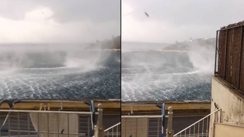 British Tourist Captures Huge Whirlpool Outside His Hotel In Corfu