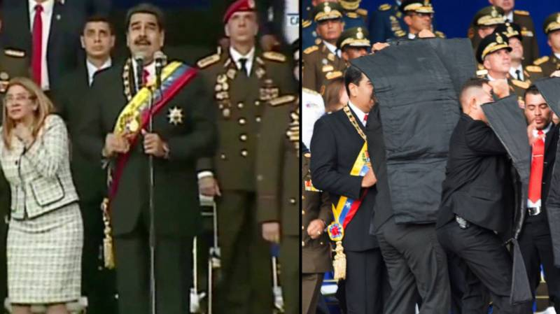 Terrifying Moment 'Drone Bomb' Explodes In Assassination Attempt On Venezuelan President