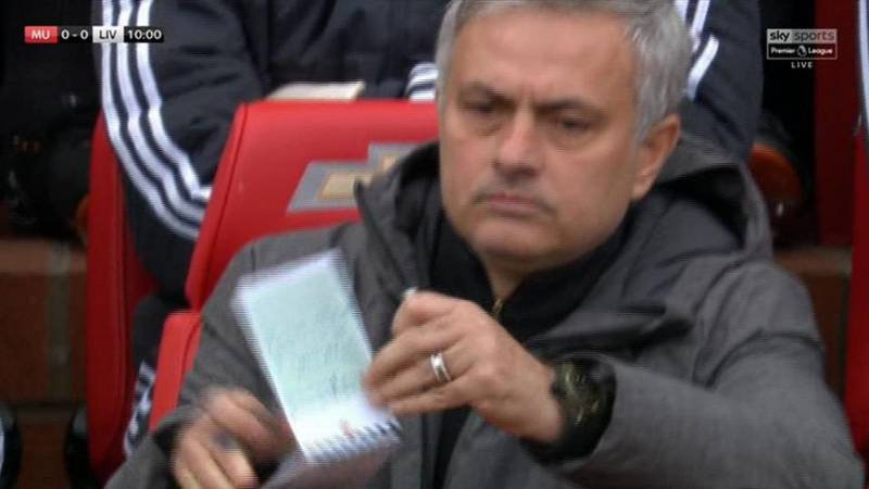 Jose Mourinho Spotted Making Psychic Note At Manchester United vs. Liverpool