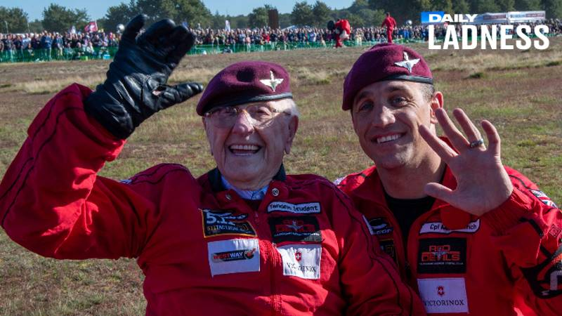War Veteran, 97, Parachutes Over Dutch City 75 Years After World War Two Operation