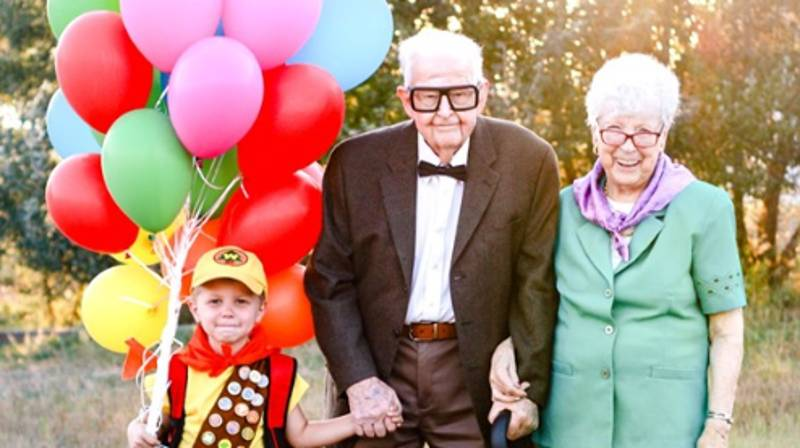 Five-Year-Old Poses With Great-Grandparents For Up-Inspired Photo Shoot