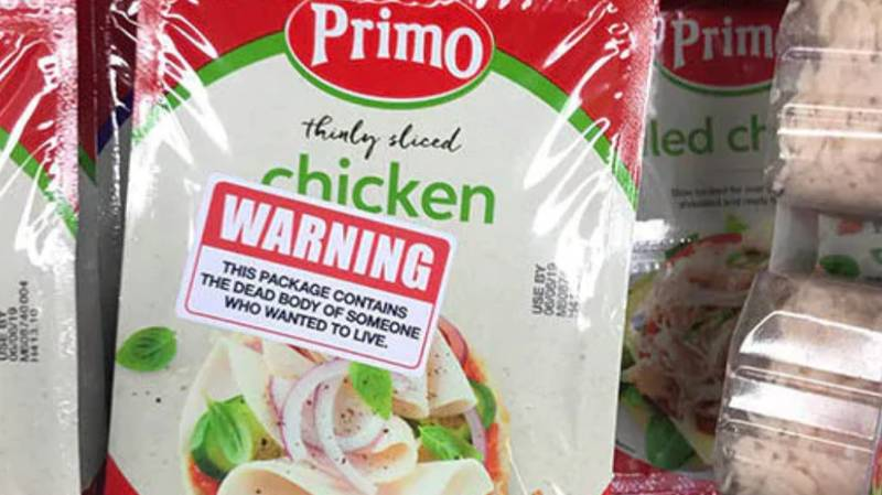 Vegans Place Warning Stickers On Supermarket Meat In Melbourne