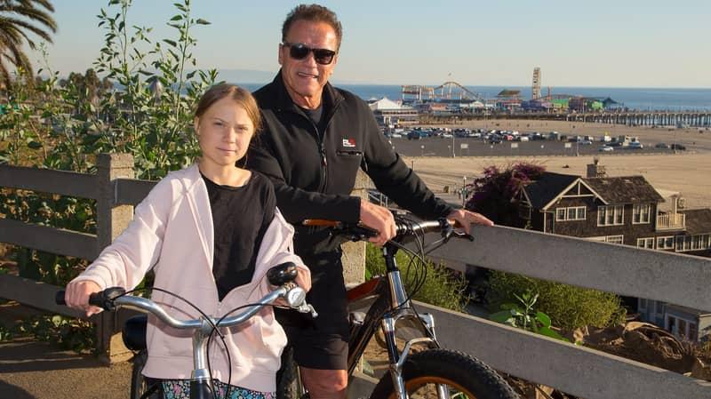 Arnold Schwarzenegger Goes For Bike Ride With 'Hero' Greta Thunberg